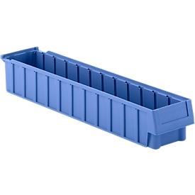 Stellingbak RK 619-02, polypropeen, L 599 x B 116 x H 90 mm, 11 vakken, voor kastdiepte 600 mm, blauw