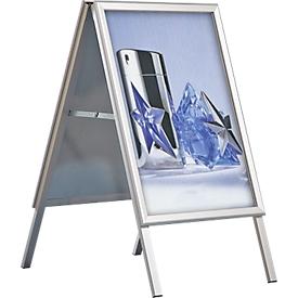 Stoepbord uit aluminium, weerbestendig, voor A1-formaat (594 x 841 mm), zilver geanodiseerd
