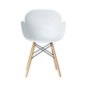 Stuhl Paperflow Kiwood, Massivholz, Metallverstrebungen, ergonomische PP-Sitzschale, weiß, 2er-Set