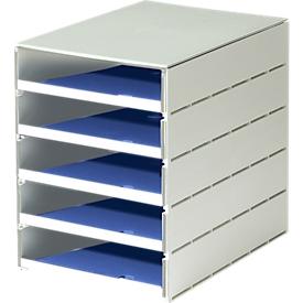 Styro® cajón de sobremesa Styroval, 5 cajones abiertos, DIN C4, poliestireno, azul