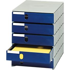 Styro® cajón de sobremesa Styroval, 5 cajones cerrados, DIN C4, poliestireno, azul