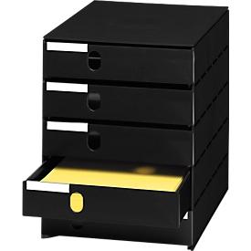 styro® Schubladenbox Styroval, 5 Schübe geschlossen, DIN C4, Polystyrol, schwarz