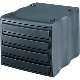 styro® Schubladenbox wave, 4 Schübe, Polystyrol, schwarz/schwarz