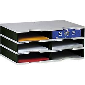 styro® Sortierstation styrodoc Standard, DIN C4, 3 Etagen/2-reihig/6 Fächer, grau/schwarz