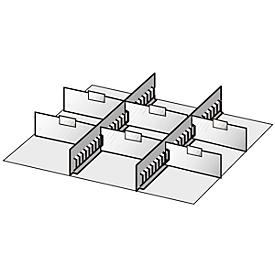 Subdivisores de cajón, 2 travesaños intermedios/6 separadores, 50mm