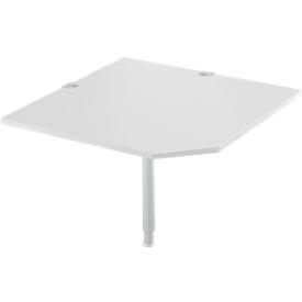 Systemwinkelplatte, CAD, Fuß, B 1000 x T 1000 mm, lichtgrau/weißalu