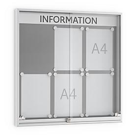 Tablón de anuncios con puerta corredera, profundidad 60mm, 3 x 2, color aluminio-plateado