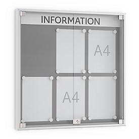 Tablón de anuncios de puerta giratoria, profundidad 60mm, 3 x 2, aluminio plateado