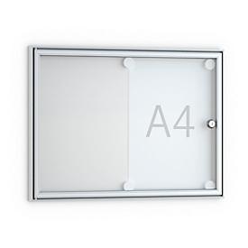 Tablón de anuncios plano, en punta, 2 x DIN A4, puerta de cristal con marco