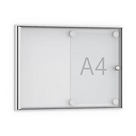 Tablón de anuncios plano, en punta, 2 x DIN A4, puerta totalmente de cristal acrílico