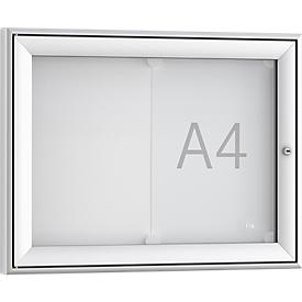 Tablón de anuncios Softline WSM FSK 2, vidrio ESG, para 2 anuncios DIN A4, formato apaisado