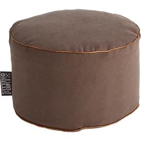 Taburete JAMIE DotCom, estética de lona, ø 500 x Al 300mm, marrón