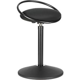 Taburete ROVO SOLO con aro, tejido de punto 3D, negro/negro