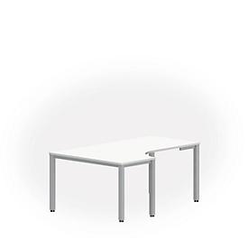Tafel in vrije vorm NEVADA, B 1800 x D 1200/800 x H 740 mm, vierkant, wit/aluminum zilver
