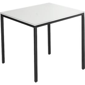 Tafel van stalen buis, rechthoekig, voet van vierkante buis, B 800 x D 700 zero x H 720 mm, lichtgrijs/zwart