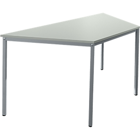 Tafel van stalen buis, trapeziumvormig, voet van vierkante buis, B 1600 x D 690 zero x H 720 mm, alu lichtgrijs/wit