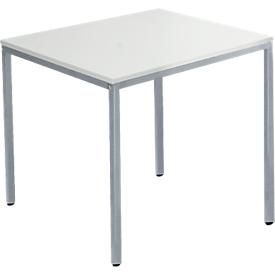Tafel van stalen buis, vierkant, voet van vierkante buis, B 800 x D 800 x H 720 mm, aluminium lichtgrijs/wit