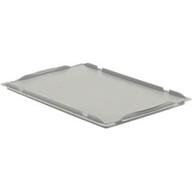Tapa cobertora D64 para caja con dimensiones norma europea LTB/ELB, 600 x 400mm, gris