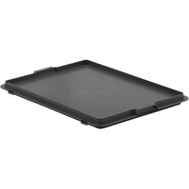 Tapa para caja con dimensiones norma europea, 400 x 300mm, con gancho, gris hierro