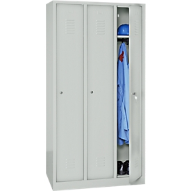 Taquilla, 3 puertas, An 900 x Al 1800mm, cerradura de cilindro, gris luminoso