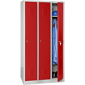 Taquilla, 3 puertas, An 900 x Al 1800mm, cerradura de cilindro, gris luminoso/rojo
