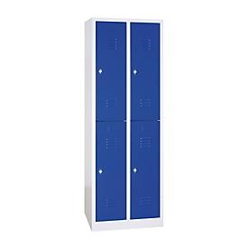 Taquilla, dos niveles, 2 x 2 compartimentos, cierre de pasador giratorio, gris luminoso/azul genciana