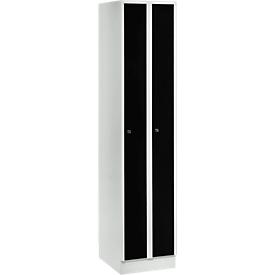 Taquilla que ahorra espacio, anchura del compartimento 200mm, con cerradura, 2 compartimentos, negro