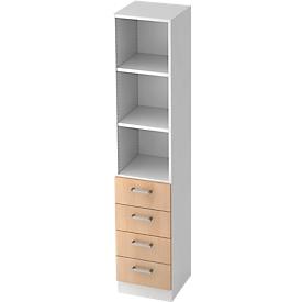 TARVIS combi-boekenkast, 5 OH, 2 legborden, 4 laden, B 405 x D 420 x H 2004 mm, wit, eikendecor