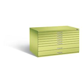 Tekeningkast van staal, voor formaten tot A0, 8 schuifladen