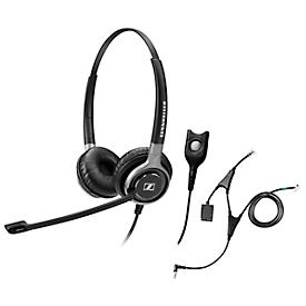 Telefoon-headset Sennheiser SC 660, kabelaansluiting, stereogeluid, HD, oorkussens, en adapter CEHS-AL01
