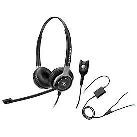 Telefoon-headset Sennheiser SC 660, kabelaansluiting, stereogeluid, HD, oorkussens, en adapter CEHS-AV04