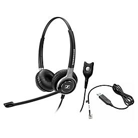 Telefoon-headset Sennheiser SC 660, kabelaansluiting, stereogeluid, HD, oorkussens, en adapter CEHS-CI02