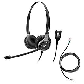 Telefoon-headset Sennheiser SC 660, kabelaansluiting, stereogeluid, HD, oorkussens, en adapter CEHS-DHSG
