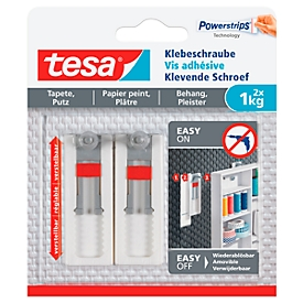 tesa® kleefschroef, voor behang & pleister, kleefkracht tot 1 kg, in hoogte verstelbaar, afneembaar, 2 st.