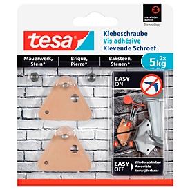 tesa® kleefschroef, voor metselwerk & steen binnen & buiten, kleefkracht tot 5 kg, afneembaar, driehoekig, 2 st.
