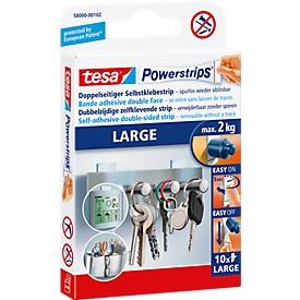 tesa® Powerstrips Large, 2 kg draagkracht per strip, 10 stuks