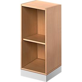 TETRIS SOLID houten boekenkast, 2 OH, B 400 x D 413 x H 818 mm, beukendecor/blank alu