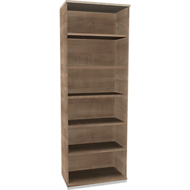 TETRIS SOLID houten boekenkast, 6 OH, B 800 x D 413 x H 2239 mm, kersen Romana-decor/blank alu