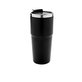 Thermobecher, 480 ml, Kunststoff & Edelstahl, schwarz, Lasergravur 40 x 40 mm mit Leuchtlogo, inkl. Batterien