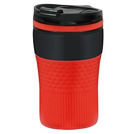 Thermobecher, Schwarz/Rot, Standard, Auswahl Werbeanbringung optional
