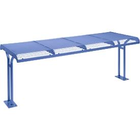 Tisch Essen, mit Flansch, für 4er Sitzbank Essen, pulverbeschichtet, violettblau