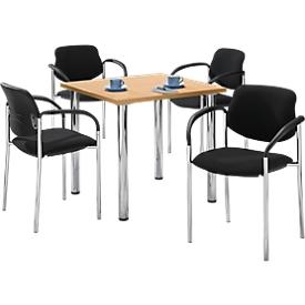 Tisch m. 4 Stühlen, Buche-Dekor, 800x800 mm