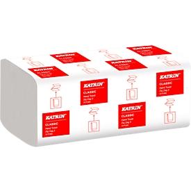 Toallas de papel plegadas en Z KATRIN, blanco, 2 capas, 2 x 18g/m², 244 x 230mm, paquete manejable con asa erg., 4000 unidades