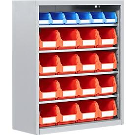 TOP FIX kast met legborden, 780 mm hoog, 4 legborden, 22 bakken, zonder deuren, lichtgrijs