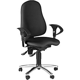 Topstar bureaustoel SENSUM, permanent contact, met armleuningen, lendenwervelsteun, 3D-orthozitting, zwart