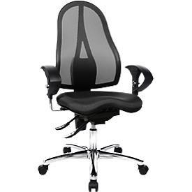 Topstar bureaustoel SITNESS 15, permanent contact, met armleuningen, gazen rugleuning, fitness-orthozitting, zwart