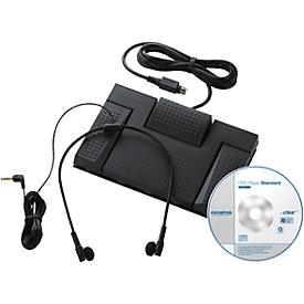 Transkriptions-Kit Olympus AS-2400, USB-Fußpedal, Unter-Kinn-Kopfhörer, DSS