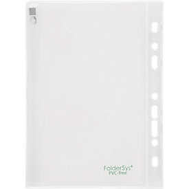 transparante hoes FolderSys, schuifsluiting, archiefrand met EURO-perforatie, PVC-vrij, EVA-folie transparant, A5, 10 stuks
