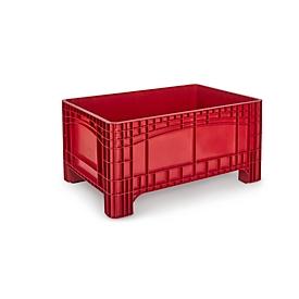 Transport-und Stapelbehälter Noah, ohne Deckel, Boden & Wände geschlossen, Volumen 354 l, Traglast bis 300 kg, 4 Füße, B 1200 x T 800 x H 580 mm, lebensmittelechtes Polyethylen, rot