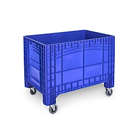 Transport-und Stapelbehälter Noah, ohne Deckel, Boden & Wände geschlossen, Volumen 535 l, Traglast bis 300 kg, Lenk- & Bockrollen, B 1200 x T 800 x H 950 mm, lebensmittelechtes Polyethylen, blau